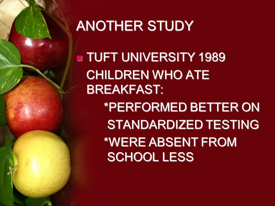 ANOTHER STUDY TUFT UNIVERSITY 1989 TUFT UNIVERSITY 1989 CHILDREN WHO ATE BREAKFAST: CHILDREN WHO ATE BREAKFAST: *PERFORMED BETTER ON STANDARDIZED TESTING STANDARDIZED TESTING *WERE ABSENT FROM SCHOOL LESS