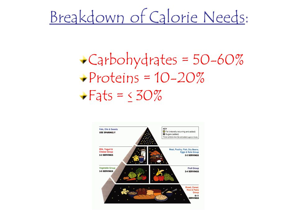 Breakdown of Calorie Needs: Carbohydrates = 50-60% Proteins = 10-20% Fats = < 30%