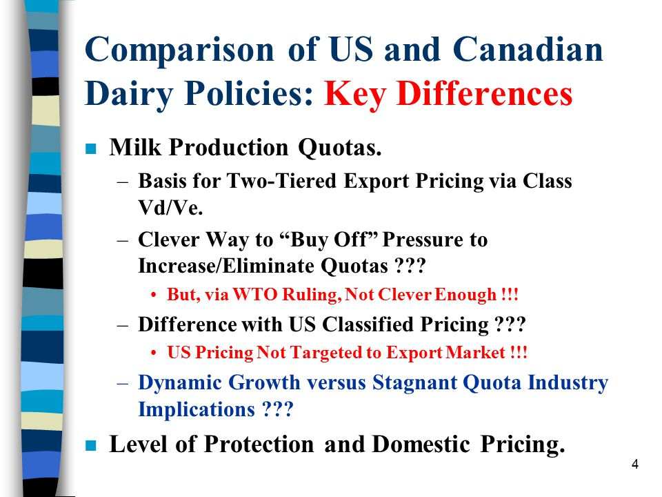 4 Comparison of US and Canadian Dairy Policies: Key Differences n Milk Production Quotas. –Basis for Two-Tiered Export Pricing via Class Vd/Ve. –Cleve