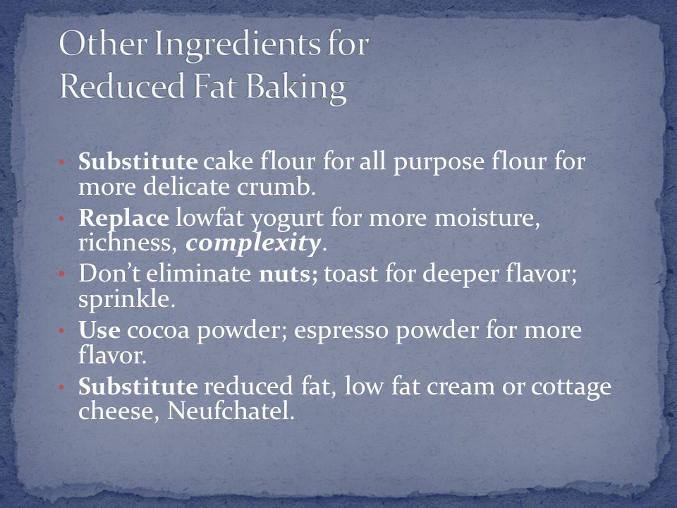 Substitute cake flour for all purpose flour for more delicate crumb.