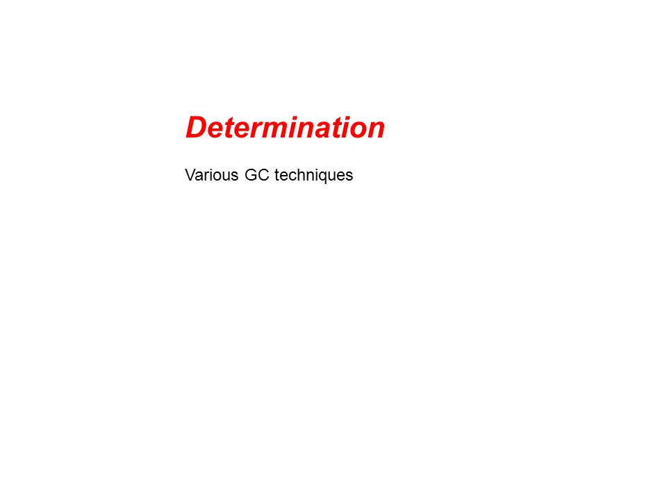 Determination Various GC techniques