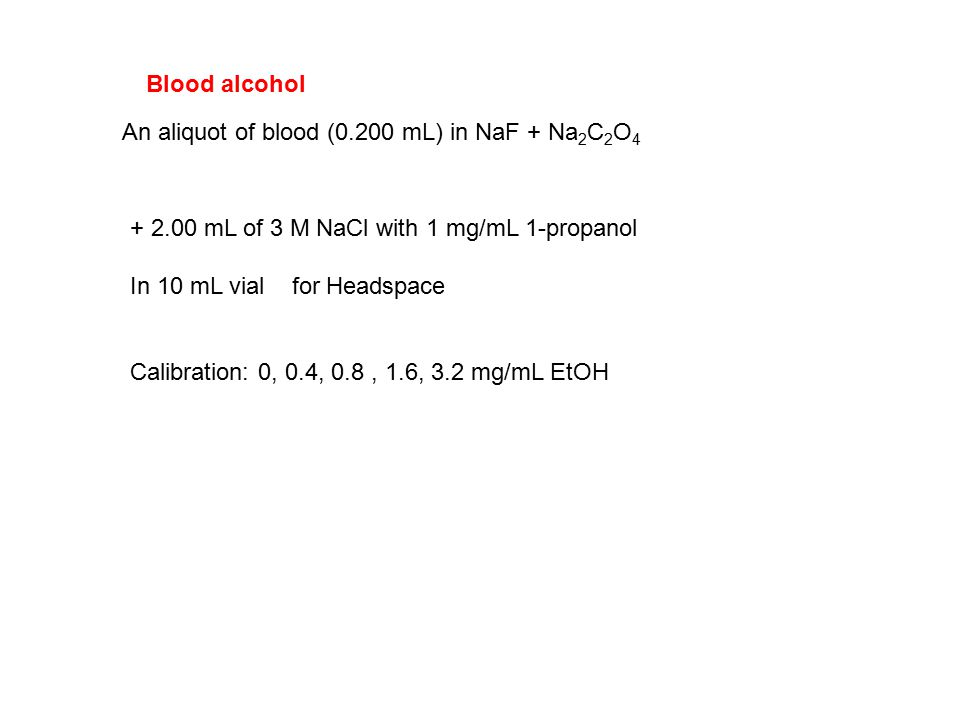 An aliquot of blood (0.200 mL) in NaF + Na 2 C 2 O 4 + 2.00 mL of 3 M NaCl with 1 mg/mL 1-propanol In 10 mL vial for Headspace Calibration: 0, 0.4, 0.