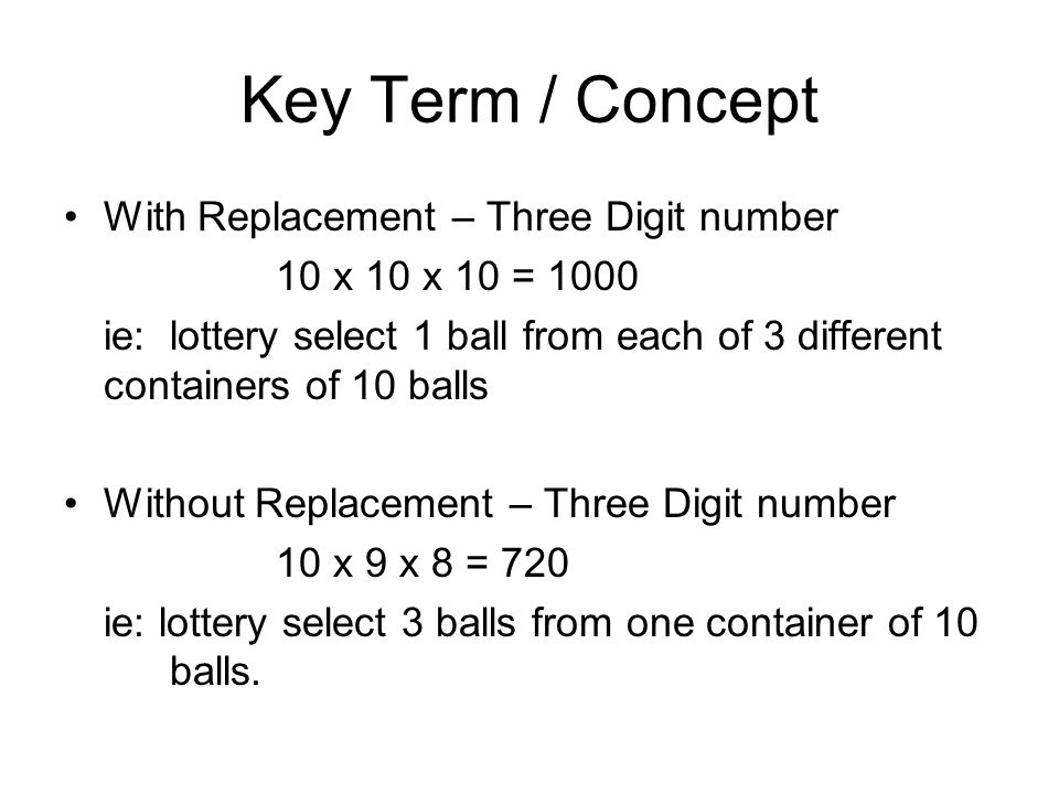 Key Term / Concept With Replacement – Three Digit number 10 x 10 x 10 = 1000 ie: lottery select 1 ball from each of 3 different containers of 10 balls