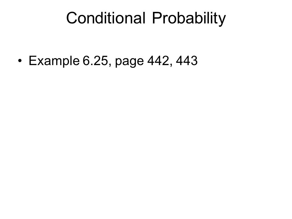 General Multiplication Rule The joint probability that both of two events A and B happen together can be found by P(A and B) = P(A)P(B | A) P(A ∩ B) = P(A)P(B | A) Example: 6.26, page 444
