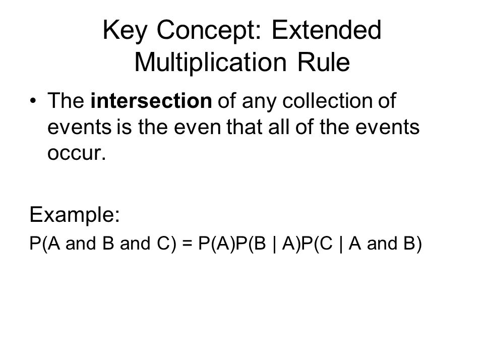 Key Concept: Extended Multiplication Rule The intersection of any collection of events is the even that all of the events occur. Example: P(A and B an