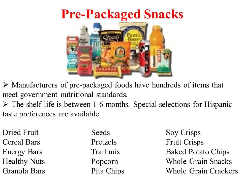 Manufacturers of pre-packaged foods have hundreds of items that meet government nutritional standards.