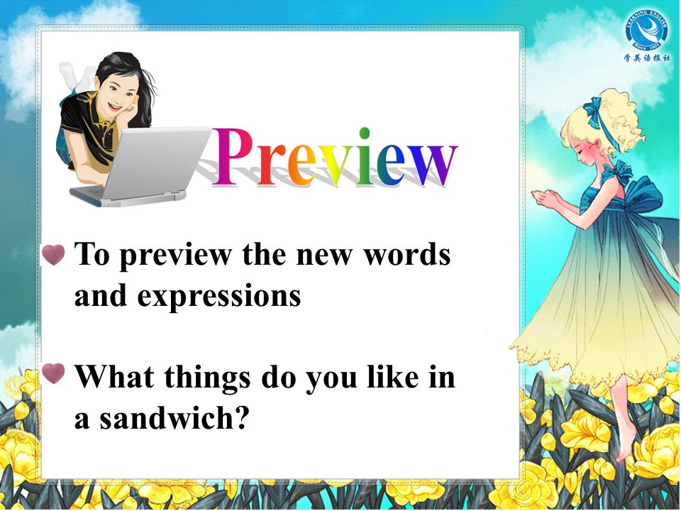 To preview the new words and expressions What things do you like in a sandwich?