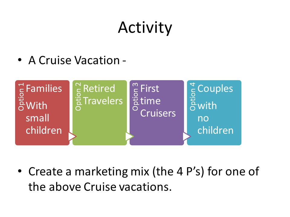 Activity A Cruise Vacation - Create a marketing mix (the 4 P's) for one of the above Cruise vacations. Option 1 Families With small children Option 2