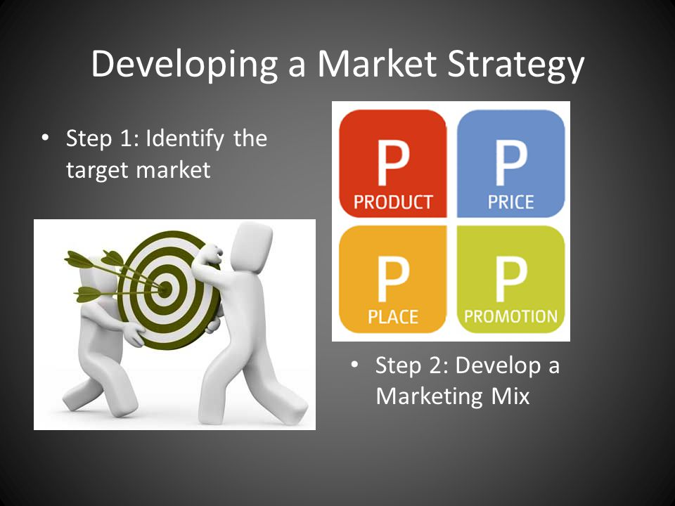 Developing a Market Strategy Step 1: Identify the target market Step 2: Develop a Marketing Mix