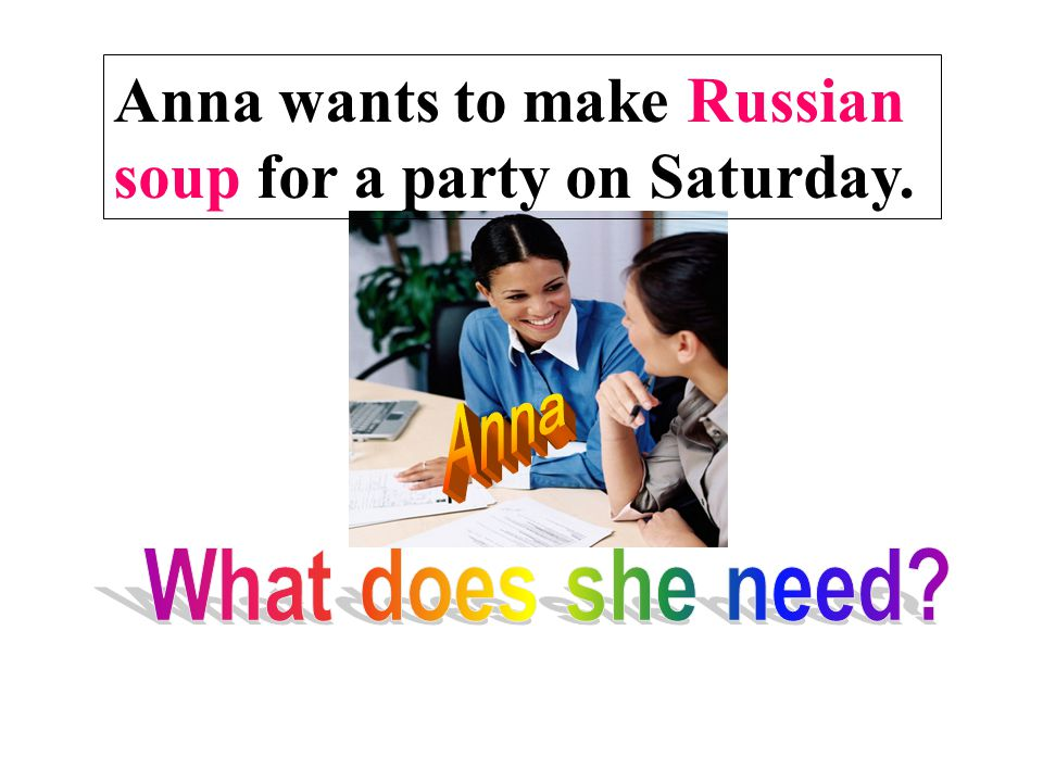 Anna wants to make Russian soup for a party on Saturday.