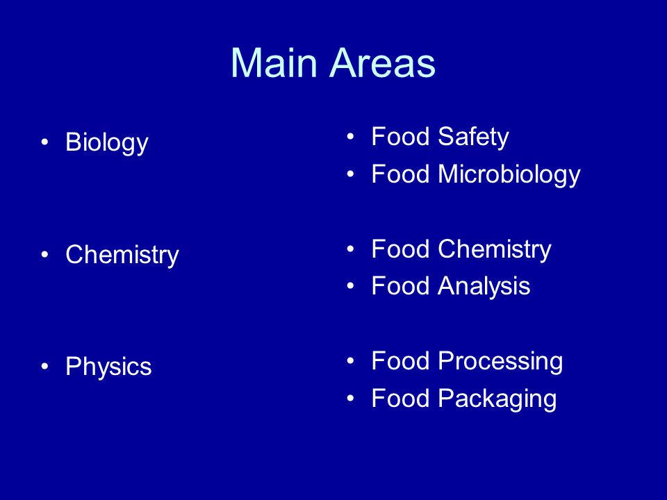 Main Areas Biology Chemistry Physics Food Safety Food Microbiology Food Chemistry Food Analysis Food Processing Food Packaging