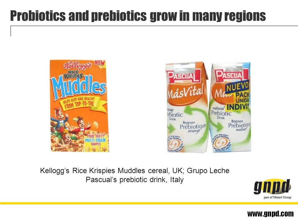www.gnpd.com Probiotics and prebiotics grow in many regions Kellogg's Rice Krispies Muddles cereal, UK; Grupo Leche Pascual's prebiotic drink, Italy