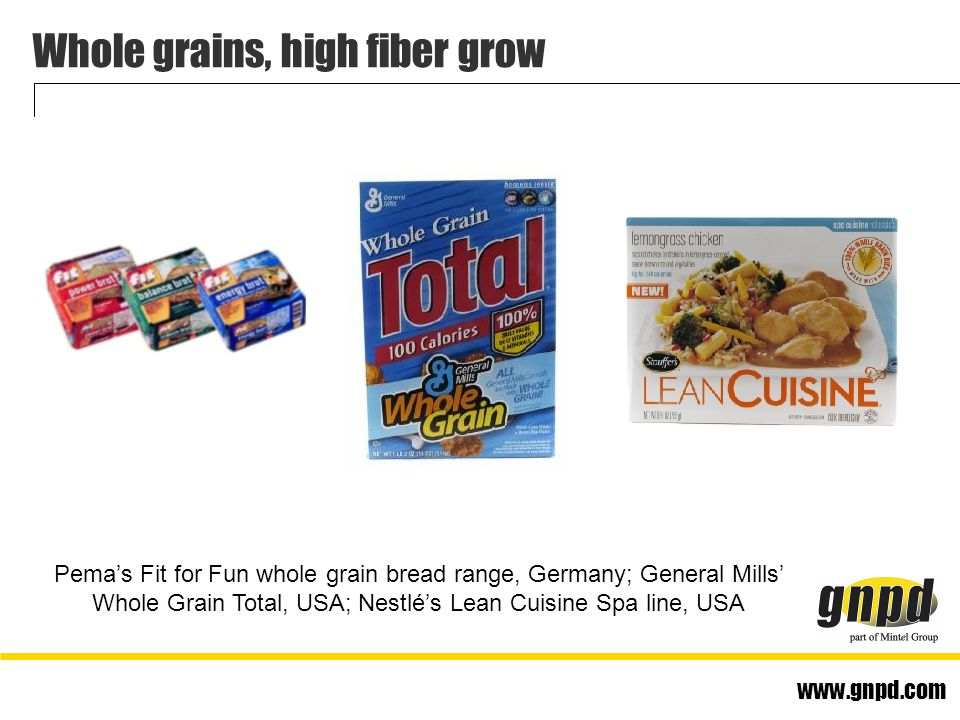www.gnpd.com Whole grains, high fiber grow Pema's Fit for Fun whole grain bread range, Germany; General Mills' Whole Grain Total, USA; Nestlé's Lean Cuisine Spa line, USA