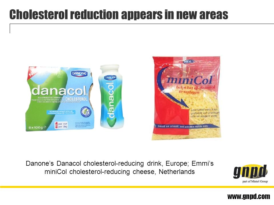 www.gnpd.com Cholesterol reduction appears in new areas Danone's Danacol cholesterol-reducing drink, Europe; Emmi's miniCol cholesterol-reducing cheese, Netherlands