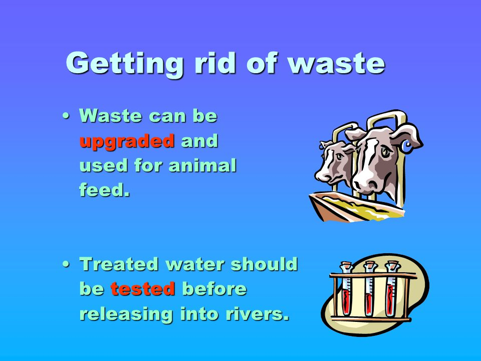 Getting rid of waste Waste can beWaste can be upgraded and upgraded and used for animal used for animalfeed. Treated water shouldTreated water should