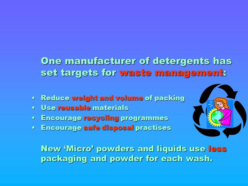 One manufacturer of detergents has set targets for waste management: One manufacturer of detergents has set targets for waste management: Reduce weigh
