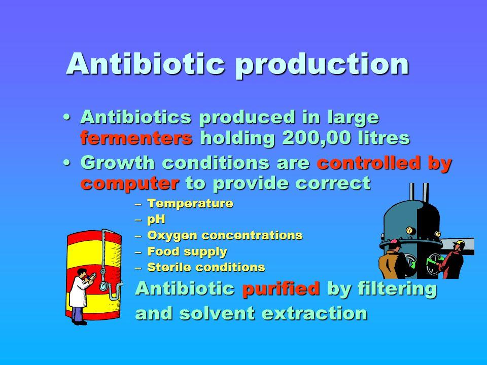 Antibiotic production Antibiotics produced in large fermenters holding 200,00 litresAntibiotics produced in large fermenters holding 200,00 litres Gro