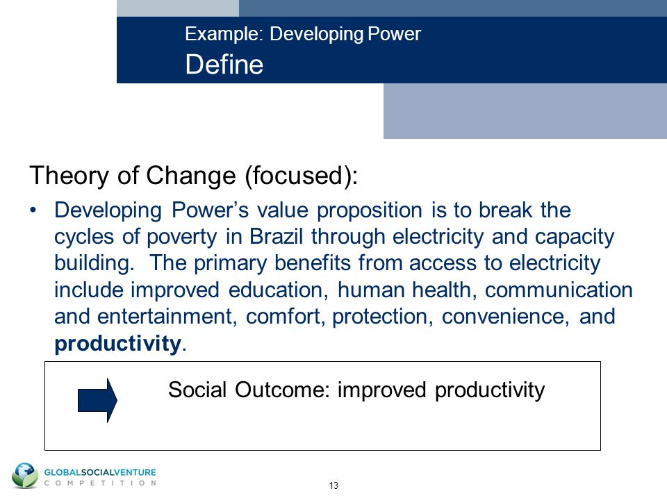 13 Example: Developing Power Define Theory of Change (focused): Developing Power's value proposition is to break the cycles of poverty in Brazil through electricity and capacity building.