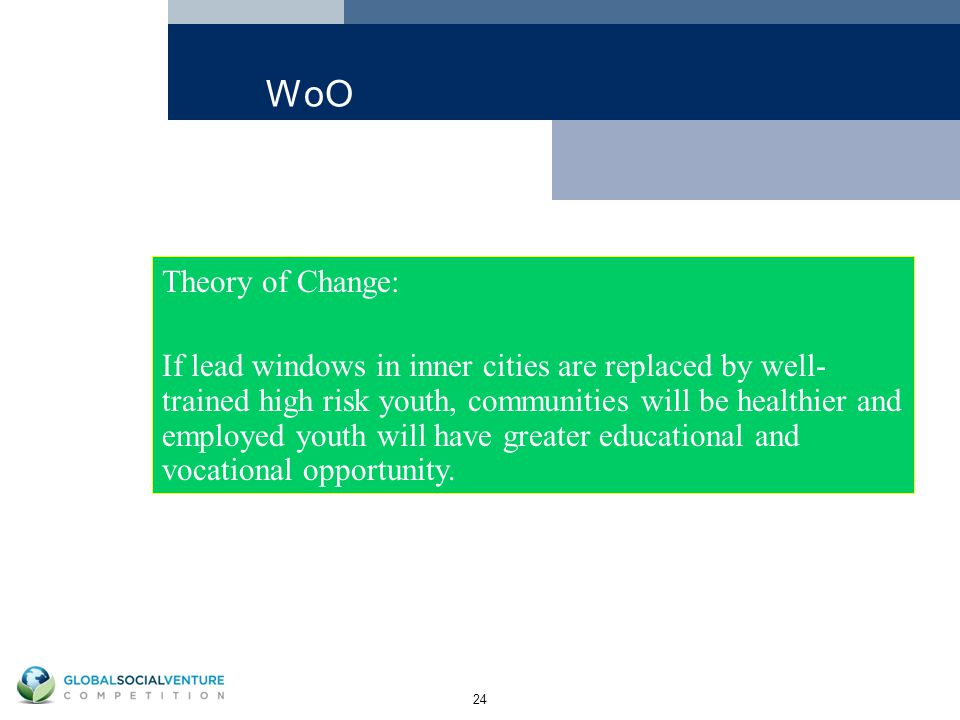 24 WoO Theory of Change: If lead windows in inner cities are replaced by well- trained high risk youth, communities will be healthier and employed youth will have greater educational and vocational opportunity.