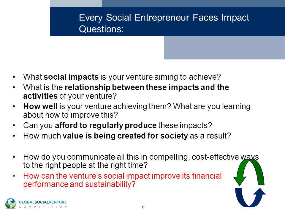 3 Every Social Entrepreneur Faces Impact Questions: What social impacts is your venture aiming to achieve.