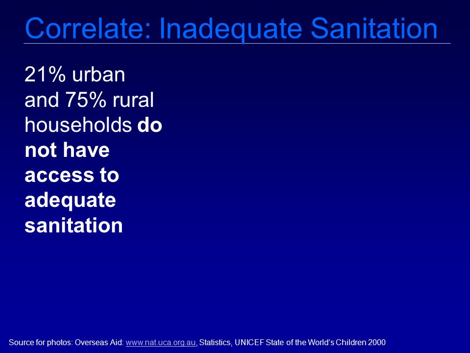Correlate: Inadequate Sanitation Source for photos: Overseas Aid: www.nat.uca.org.au, Statistics, UNICEF State of the World's Children 2000www.nat.uca.org.au 21% urban and 75% rural households do not have access to adequate sanitation