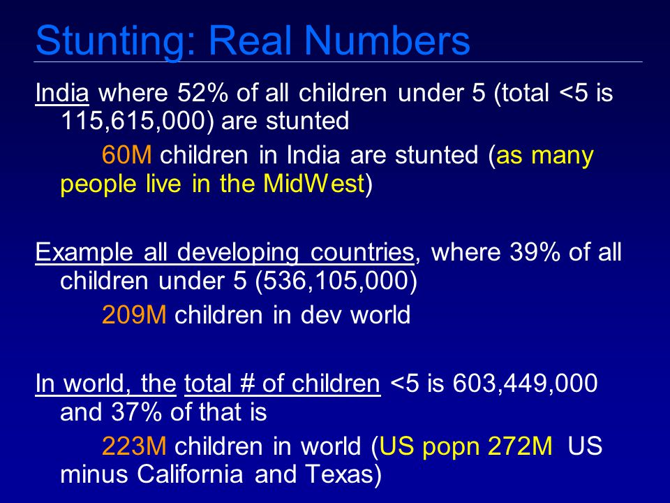 Stunting: Real Numbers India where 52% of all children under 5 (total <5 is 115,615,000) are stunted 60M children in India are stunted (as many people live in the MidWest) Example all developing countries, where 39% of all children under 5 (536,105,000) 209M children in dev world In world, the total # of children <5 is 603,449,000 and 37% of that is 223M children in world (US popn 272M US minus California and Texas)