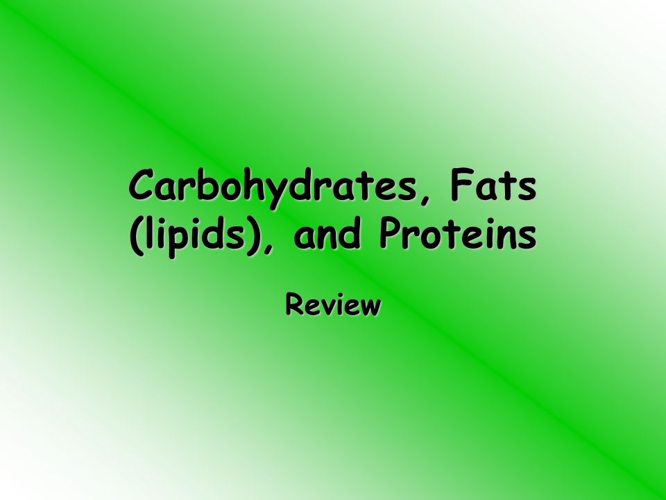 Carbohydrates, Fats (lipids), and Proteins Review