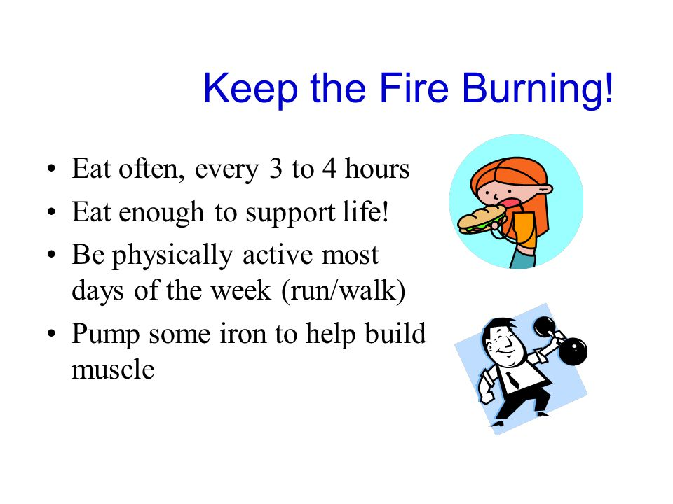 Keep the Fire Burning. Eat often, every 3 to 4 hours Eat enough to support life.