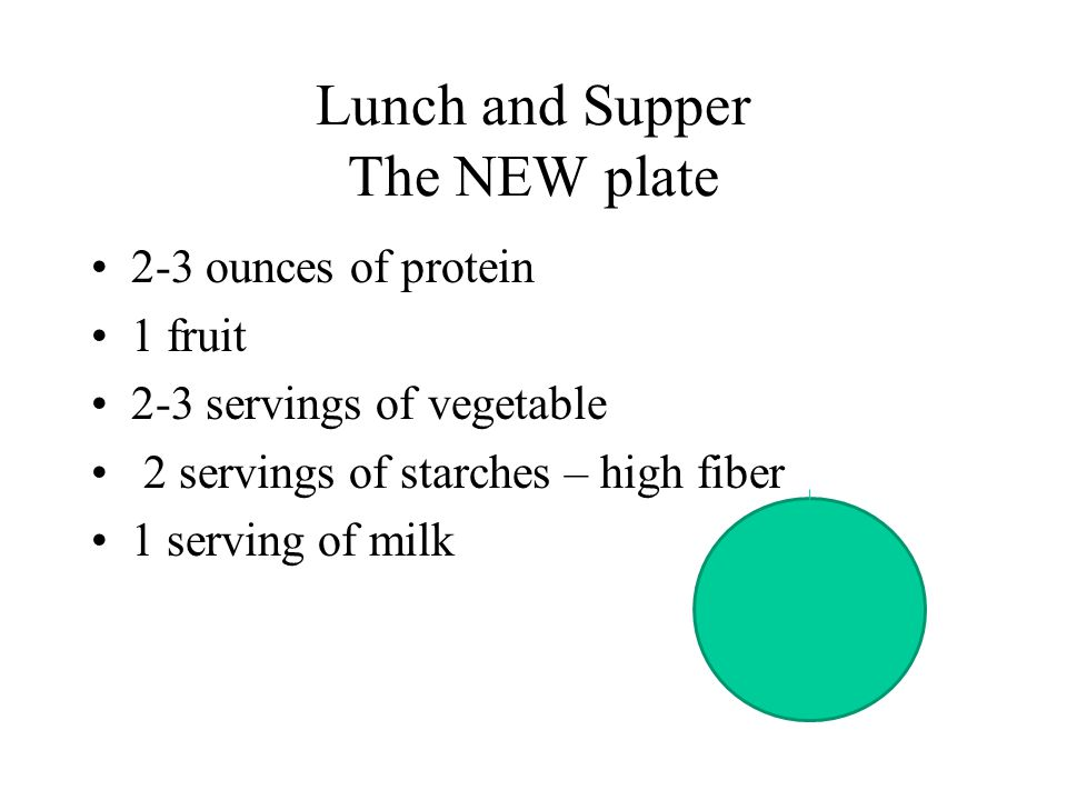 Lunch and Supper The NEW plate 2-3 ounces of protein 1 fruit 2-3 servings of vegetable 2 servings of starches – high fiber 1 serving of milk