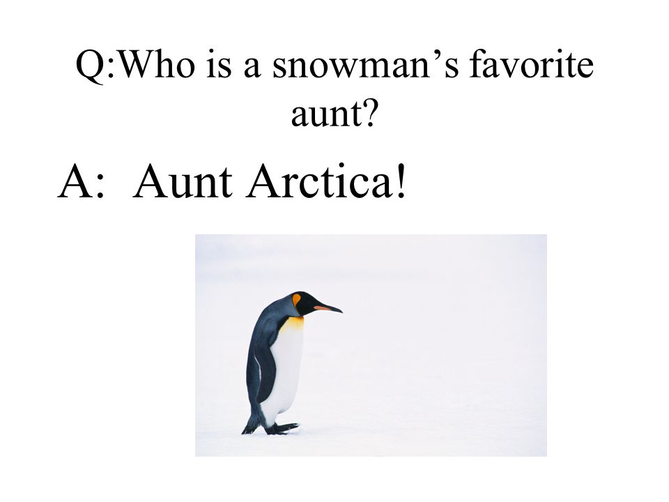 Q:Who is a snowman's favorite aunt A: Aunt Arctica!