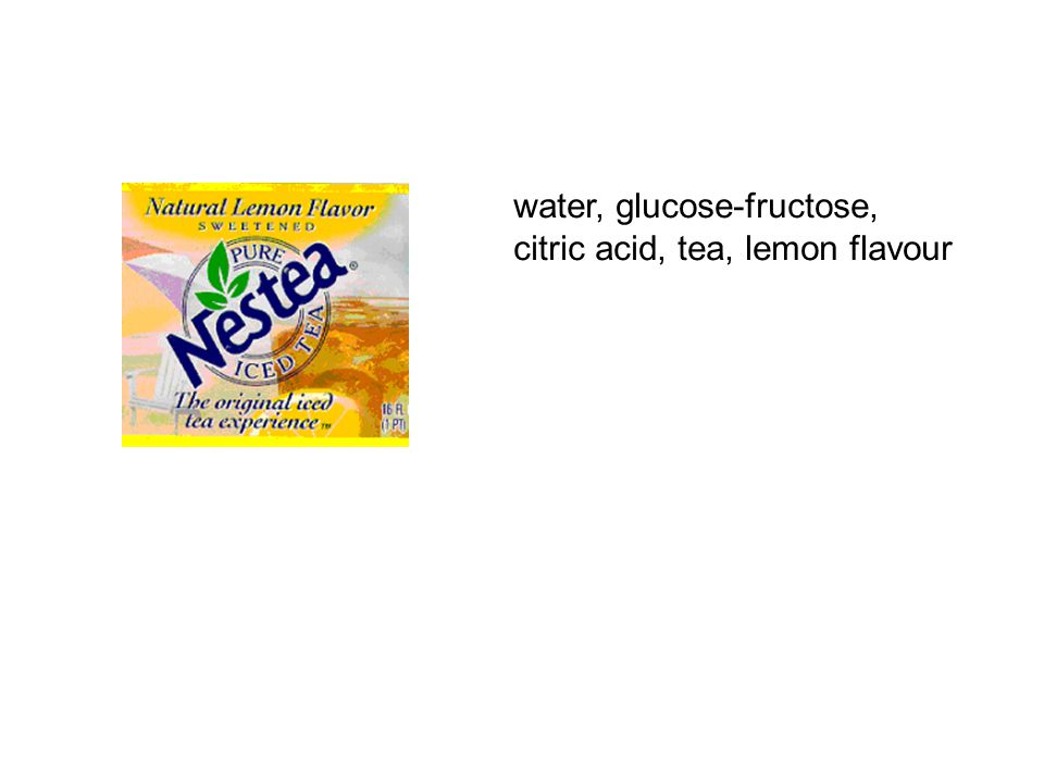 water, glucose-fructose, citric acid, tea, lemon flavour