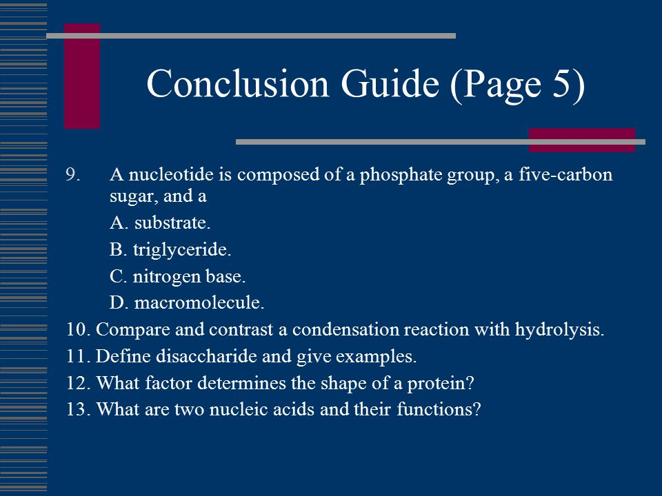 Conclusion Guide (Page 5) 9.A nucleotide is composed of a phosphate group, a five-carbon sugar, and a A.