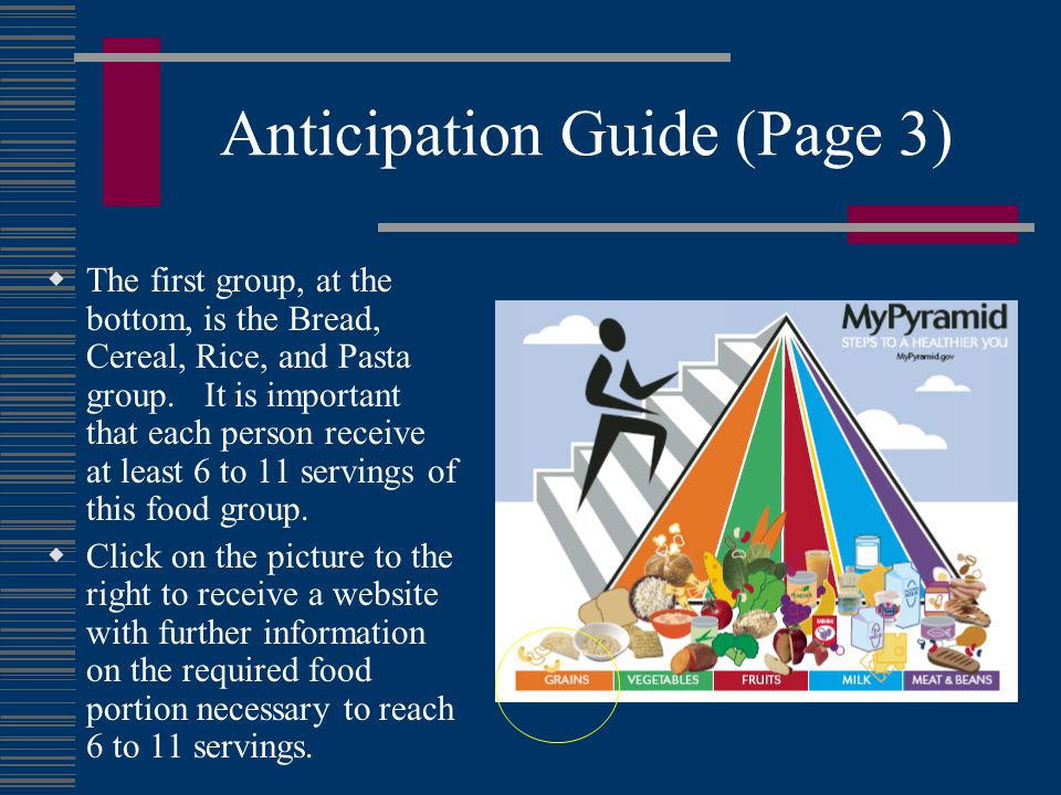 Anticipation Guide (Page 3)  The first group, at the bottom, is the Bread, Cereal, Rice, and Pasta group.
