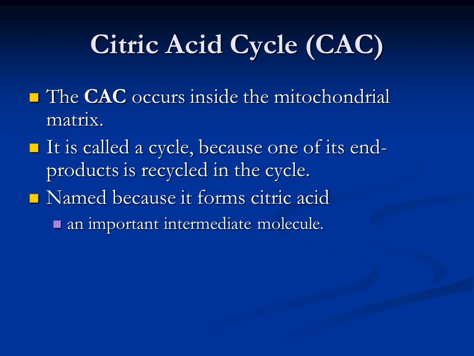 Citric Acid Cycle (CAC) The CAC occurs inside the mitochondrial matrix.