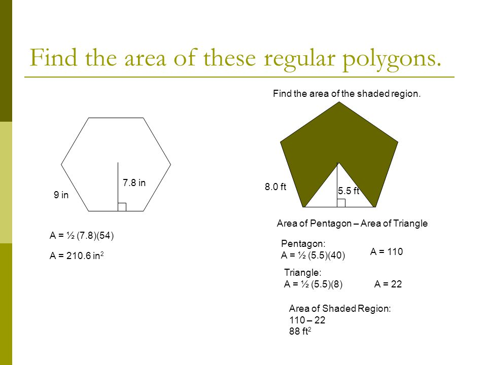 Find the area of these regular polygons.