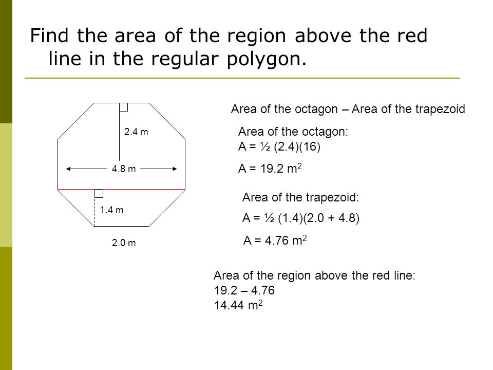 Find the area of the region above the red line in the regular polygon.