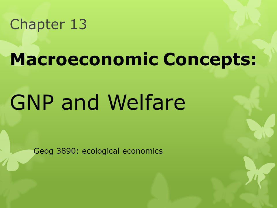 Chapter 13 Macroeconomic Concepts: GNP and Welfare Geog 3890: ecological economics