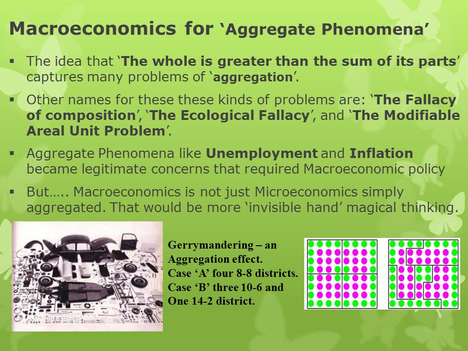 Macroeconomics for 'Aggregate Phenomena'  The idea that 'The whole is greater than the sum of its parts' captures many problems of ' aggregation '.