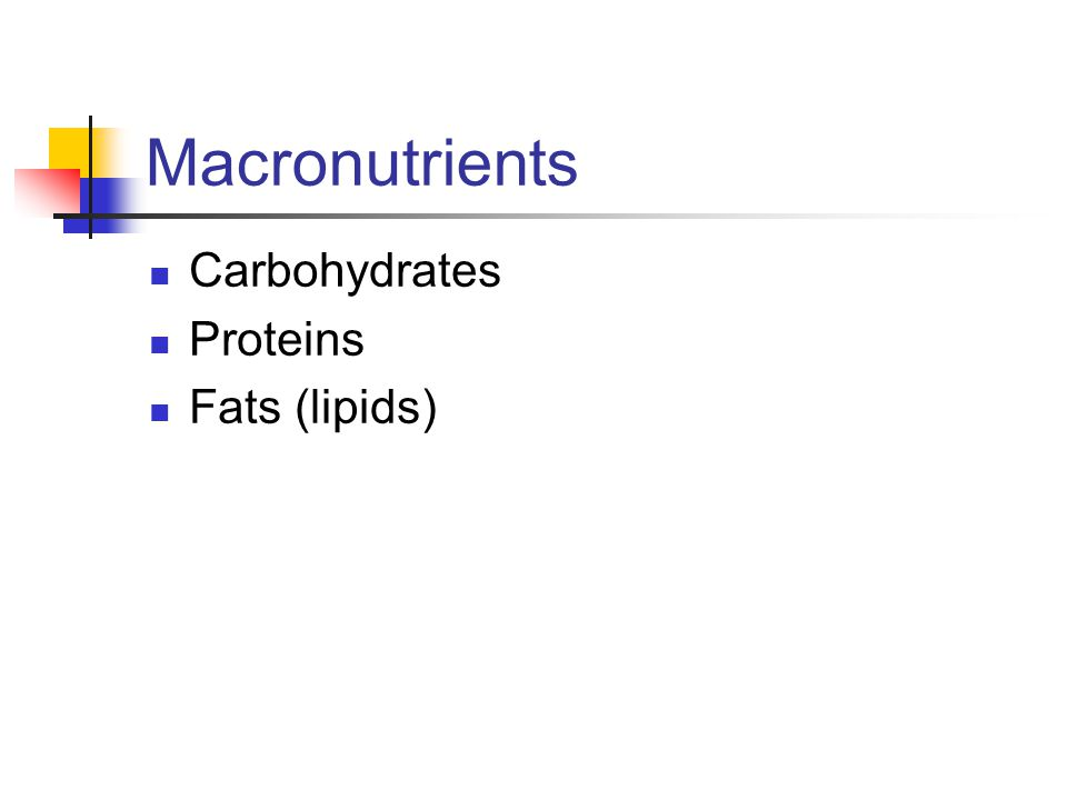 Macronutrients Carbohydrates Proteins Fats (lipids)