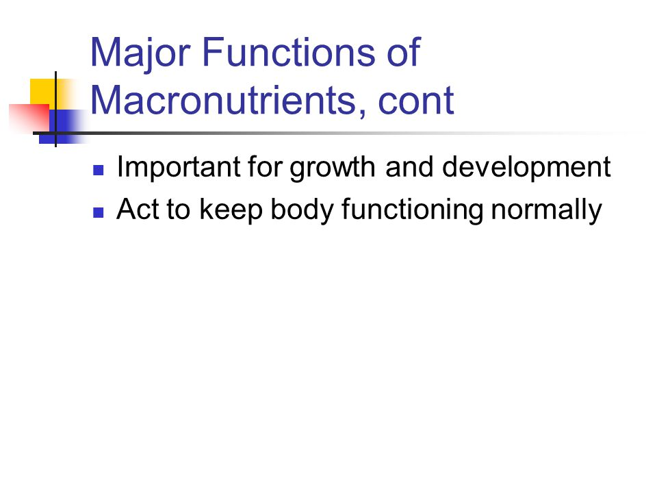 Major Functions of Macronutrients, cont Important for growth and development Act to keep body functioning normally