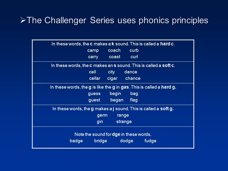 The Beginning Challenger Student Identifies name and sound of each letter Functions at a grade 2 reading level Works independently Needs review and reinforcement Is responsible for own learning