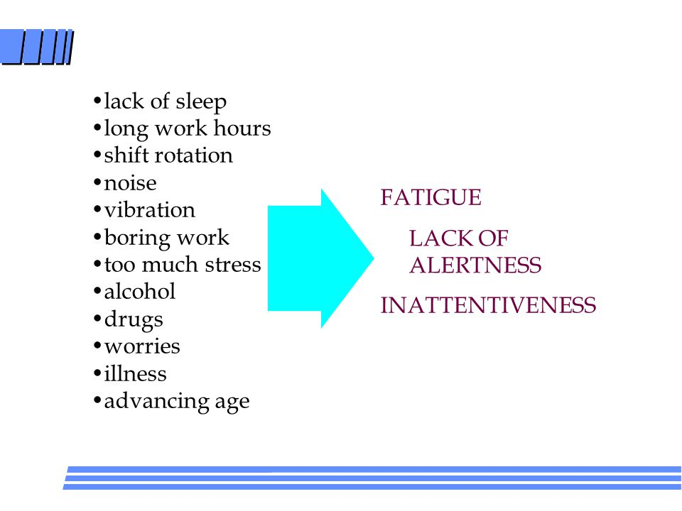 lack of sleep long work hours shift rotation noise vibration boring work too much stress alcohol drugs worries illness advancing age FATIGUE LACK OF ALERTNESS INATTENTIVENESS