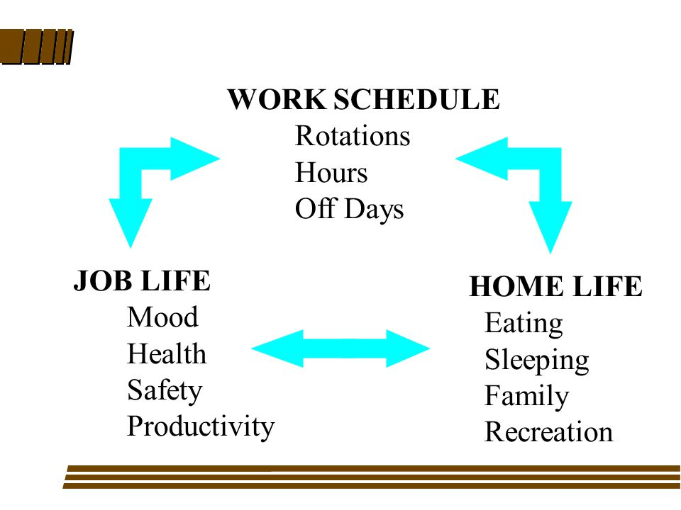 WORK SCHEDULE Rotations Hours Off Days HOME LIFE Eating Sleeping Family Recreation JOB LIFE Mood Health Safety Productivity