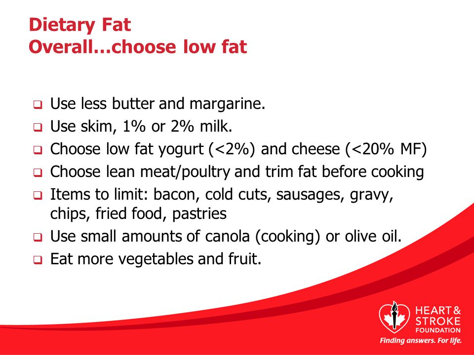 Dietary Fat Overall…choose low fat  Use less butter and margarine.  Use skim, 1% or 2% milk.  Choose low fat yogurt (<2%) and cheese (<20% MF)  Ch