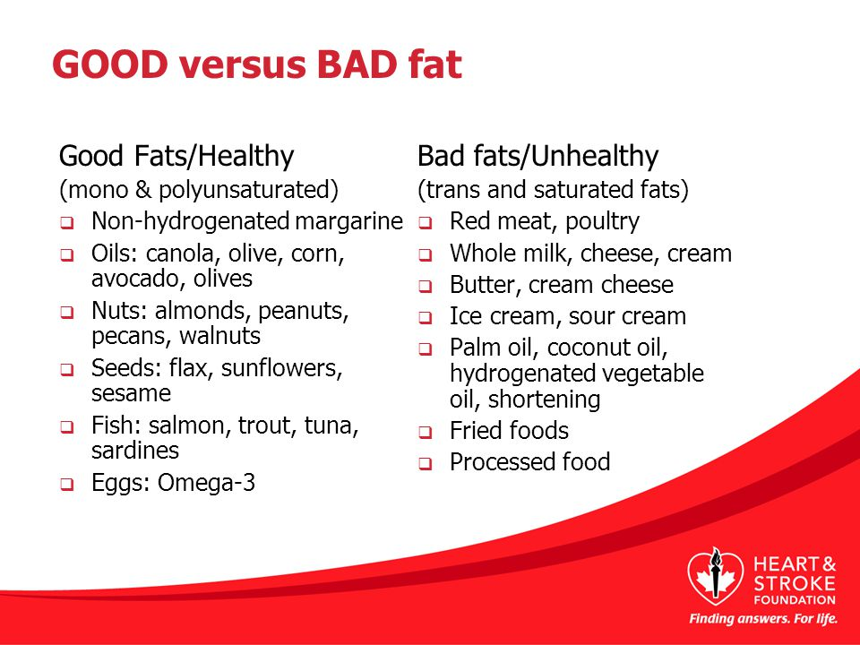 GOOD versus BAD fat Good Fats/Healthy (mono & polyunsaturated)  Non-hydrogenated margarine  Oils: canola, olive, corn, avocado, olives  Nuts: almonds, peanuts, pecans, walnuts  Seeds: flax, sunflowers, sesame  Fish: salmon, trout, tuna, sardines  Eggs: Omega-3 Bad fats/Unhealthy (trans and saturated fats)  Red meat, poultry  Whole milk, cheese, cream  Butter, cream cheese  Ice cream, sour cream  Palm oil, coconut oil, hydrogenated vegetable oil, shortening  Fried foods  Processed food