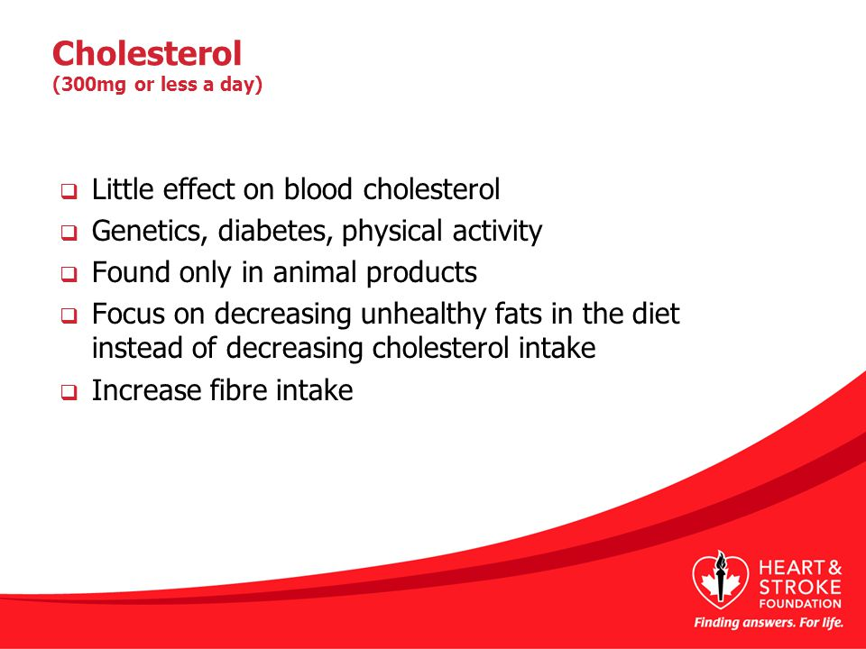Cholesterol (300mg or less a day)  Little effect on blood cholesterol  Genetics, diabetes, physical activity  Found only in animal products  Focus