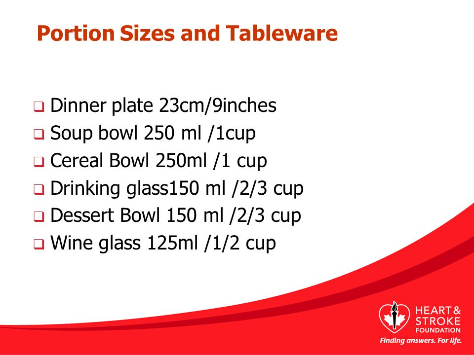 Portion Sizes and Tableware  Dinner plate 23cm/9inches  Soup bowl 250 ml /1cup  Cereal Bowl 250ml /1 cup  Drinking glass150 ml /2/3 cup  Dessert Bowl 150 ml /2/3 cup  Wine glass 125ml /1/2 cup