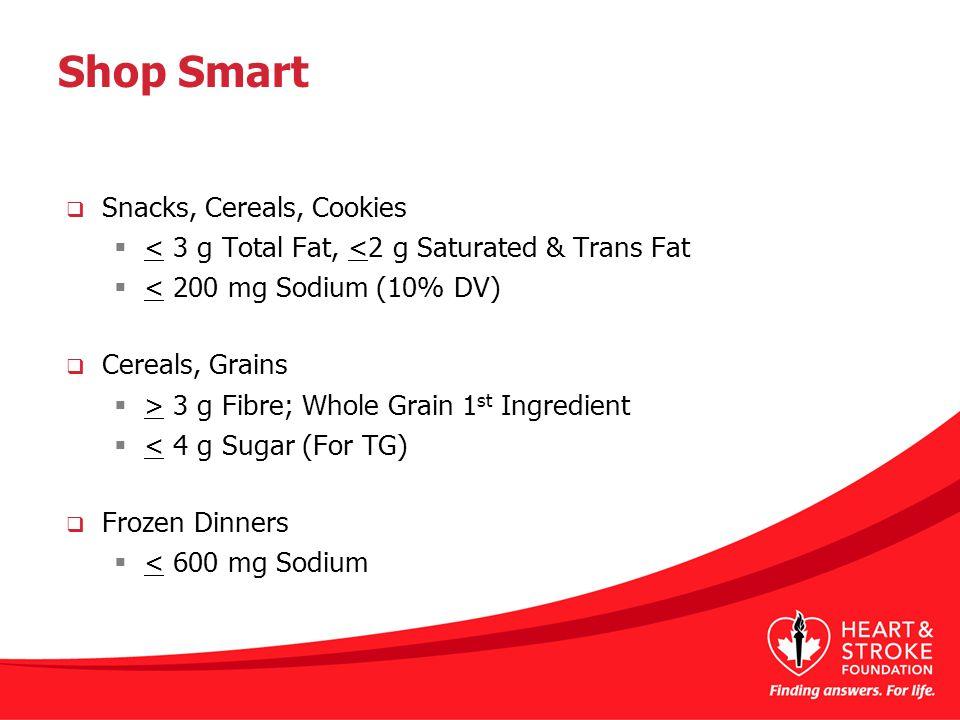 Shop Smart  Snacks, Cereals, Cookies  < 3 g Total Fat, <2 g Saturated & Trans Fat  < 200 mg Sodium (10% DV)  Cereals, Grains  > 3 g Fibre; Whole