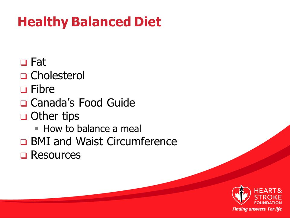 Healthy Balanced Diet  Fat  Cholesterol  Fibre  Canada's Food Guide  Other tips  How to balance a meal  BMI and Waist Circumference  Resources