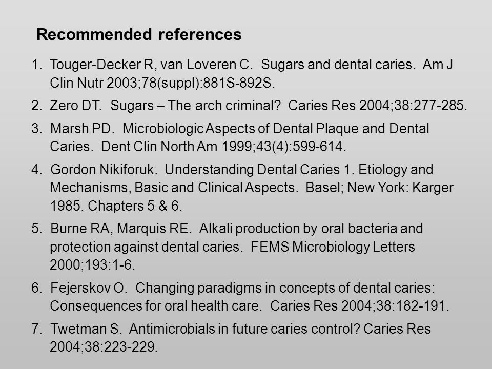 Recommended references 1.Touger-Decker R, van Loveren C.
